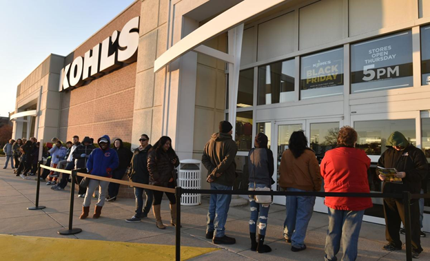 Customers are lining up in front of the store