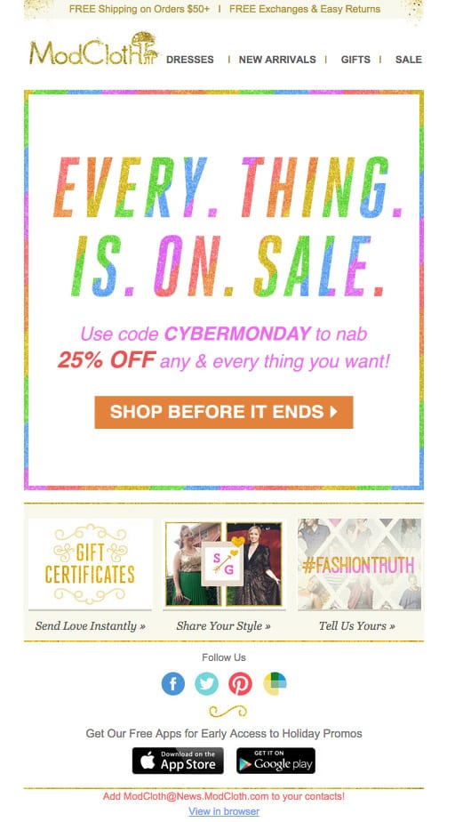 ModCloth's Colorful Black Friday Email