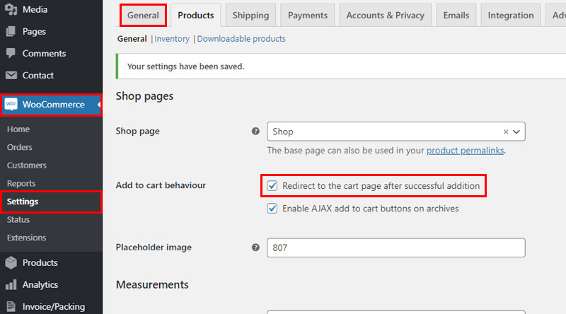 Automatic redirection to cart page