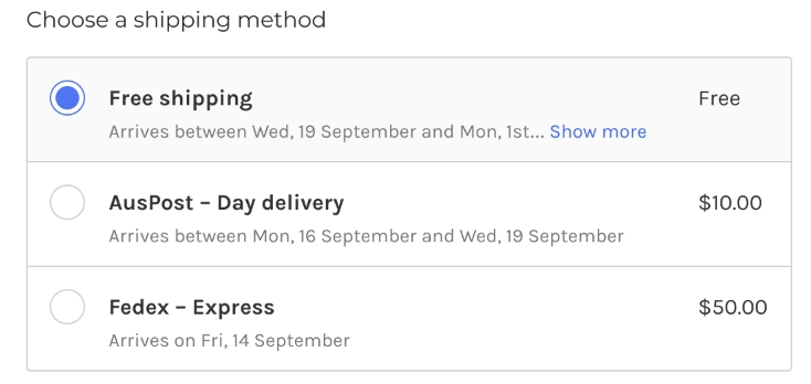 BigCommerce Shipping methods