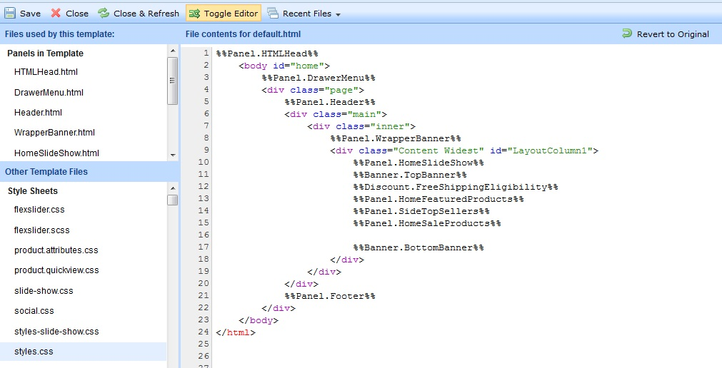 Your template HTML/CSS file
