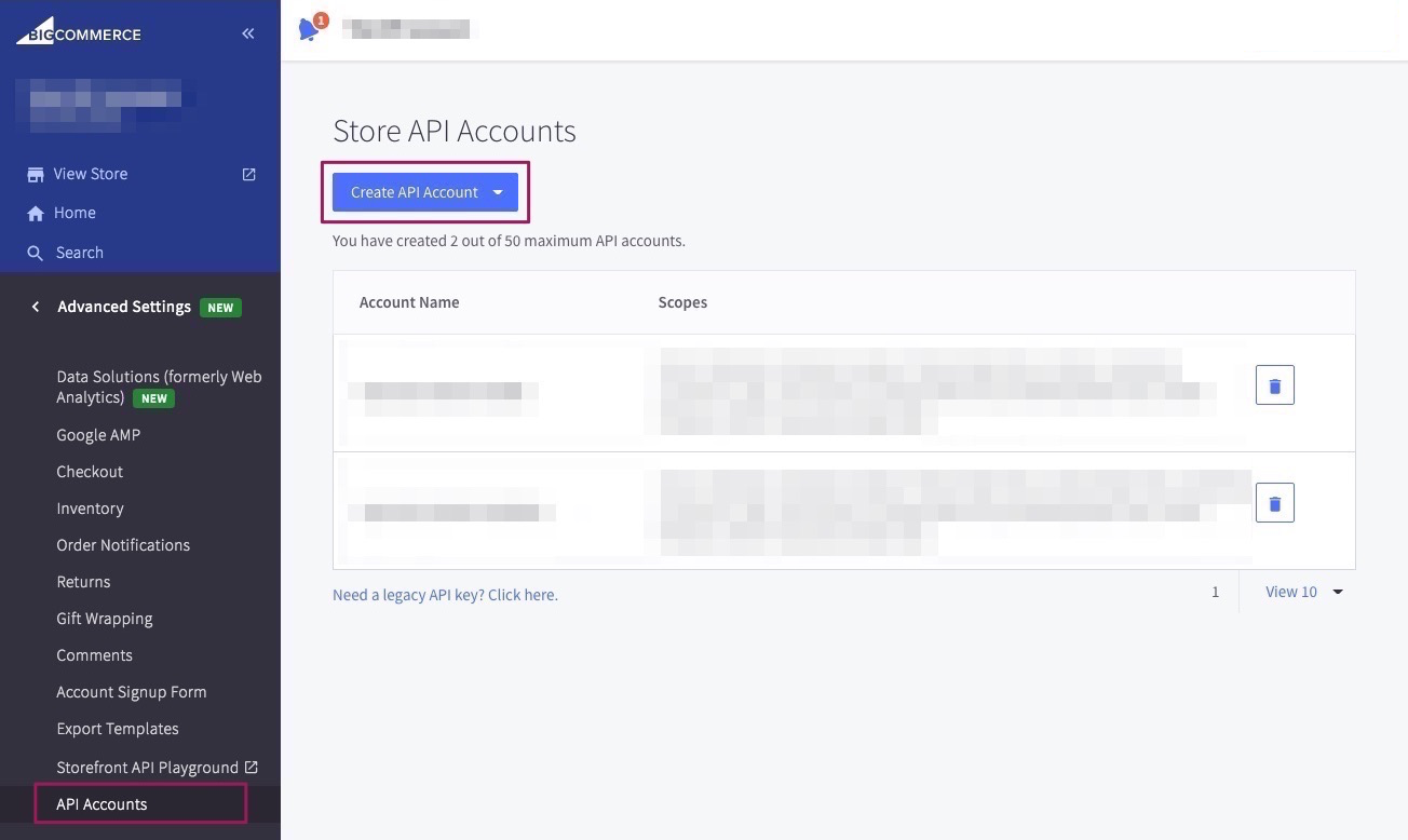 Go to the Control Panel of BigCommerce