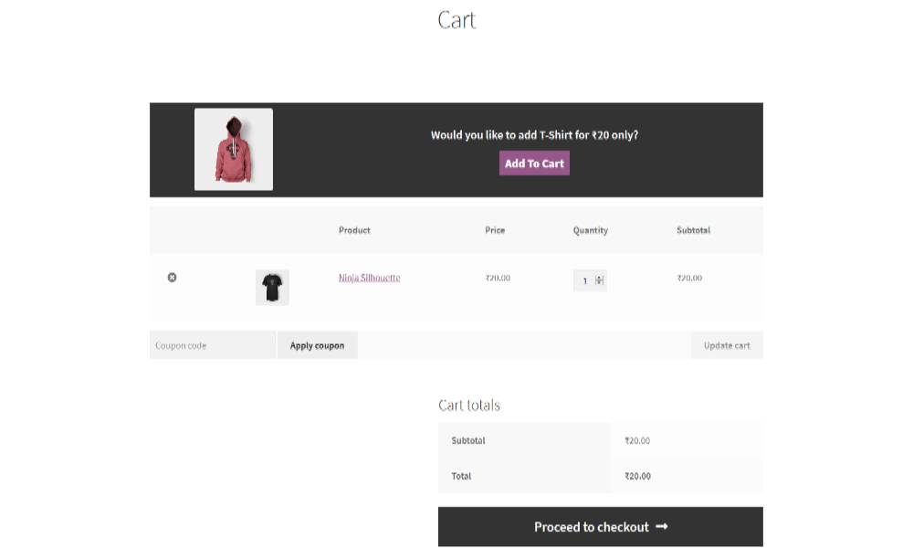 An example of related products in WooCommerce