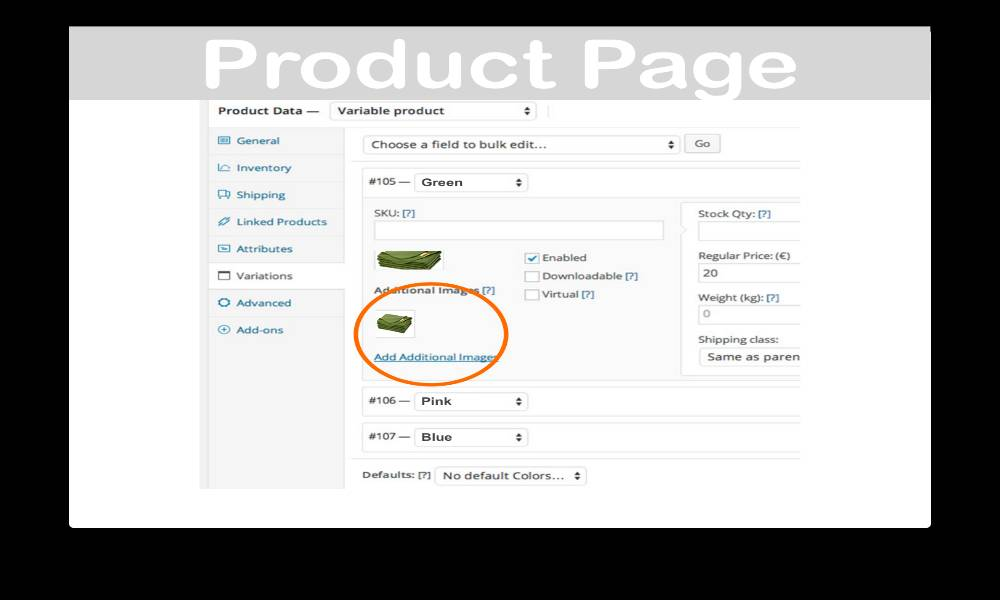 Procduct page of WooCommerce Additional Variation Images
