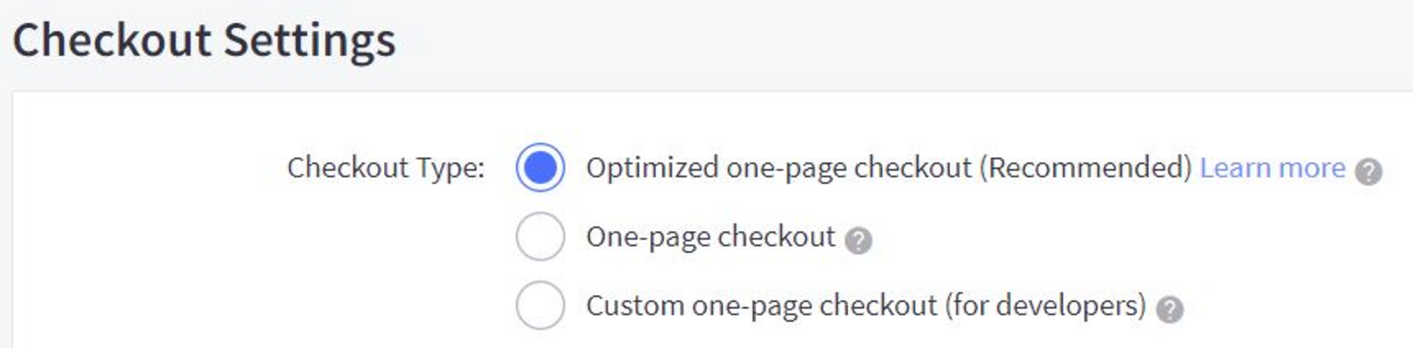 Choose the Recommened option: Optimized one-page checkout Source: Afterpay