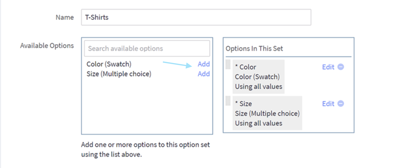 Create an Option set