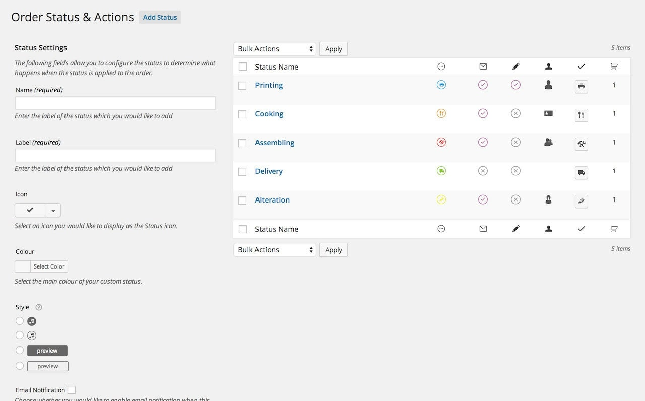WooCommerce Order Status & Actions Manager