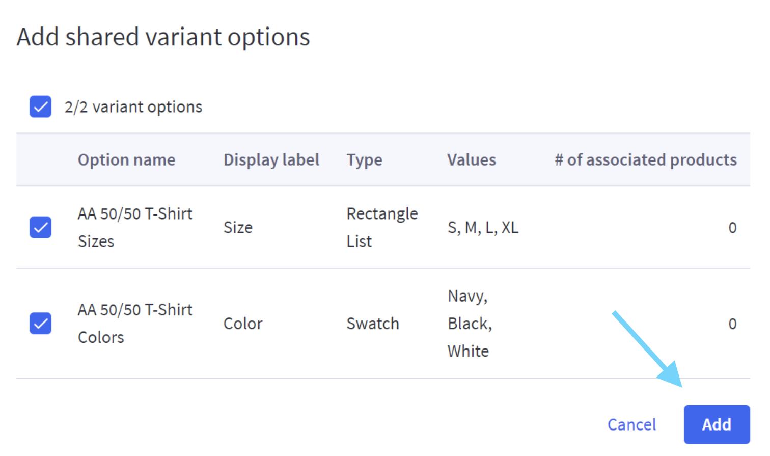 Add shared variant option tab