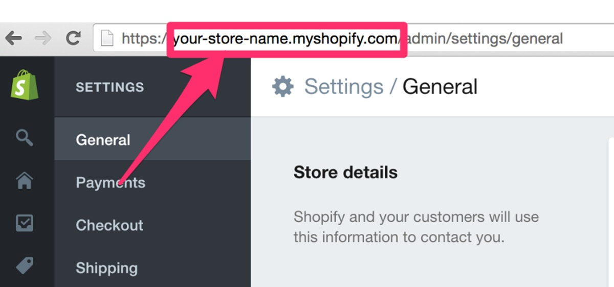 What is a Shopify store address?