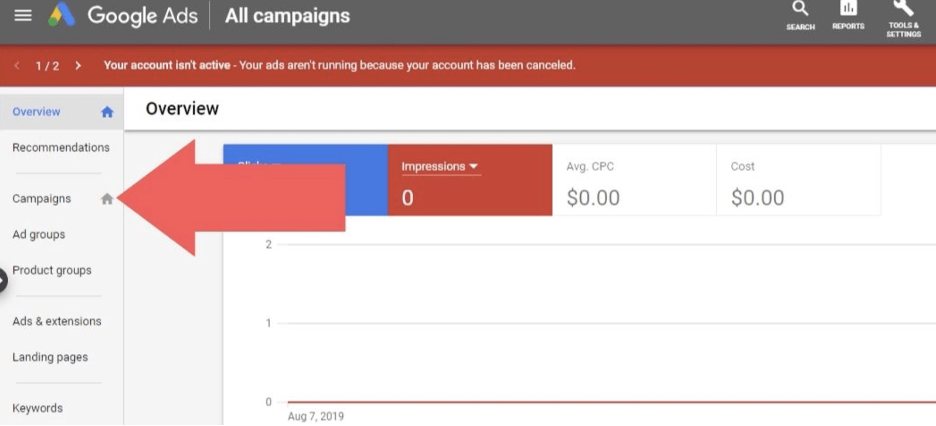 """Sign in and choose """"campaigns"""""""