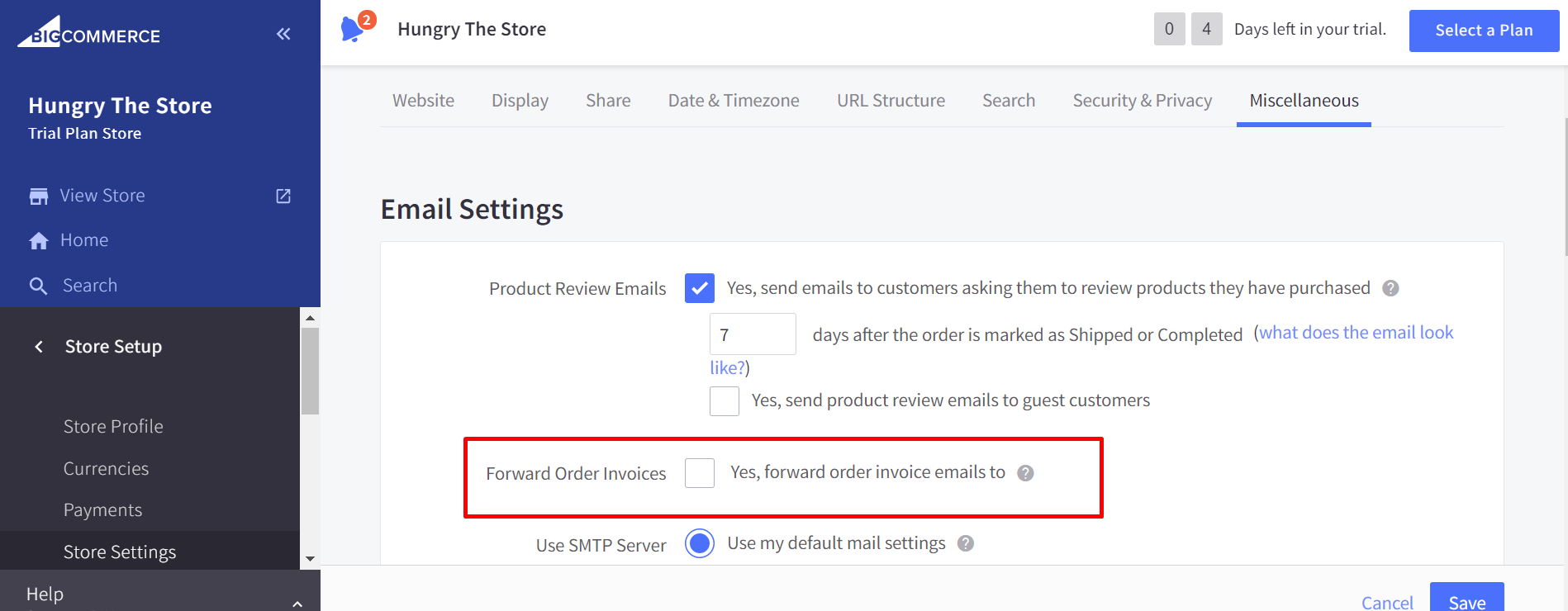 Check the Forward Order Invoices box