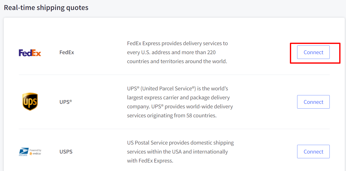 Scroll down to Real time shipping quotes and click Connect