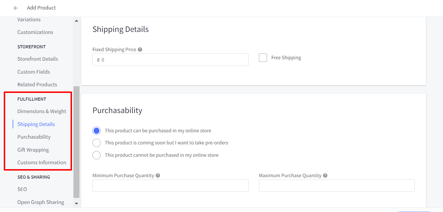 Add product fulfillment information