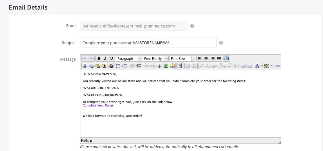 Abandoned Cart Email editor