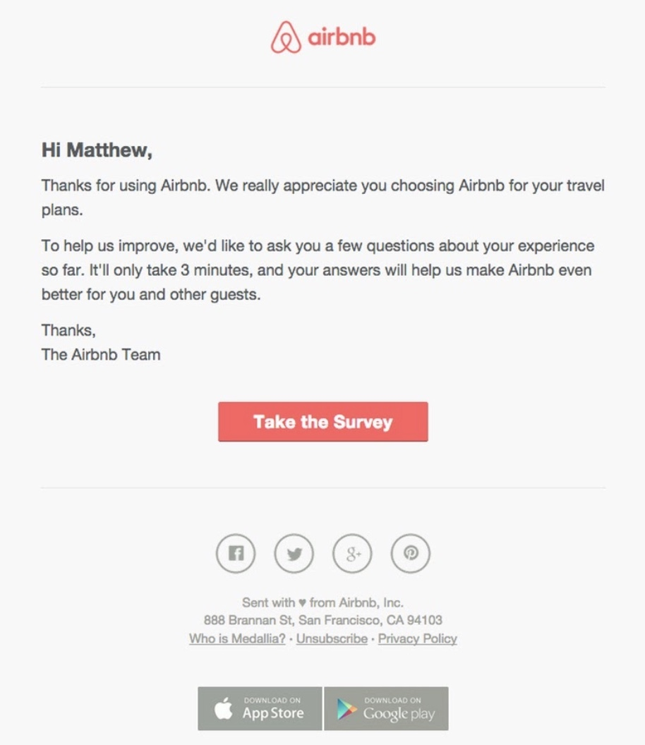 The thank you email