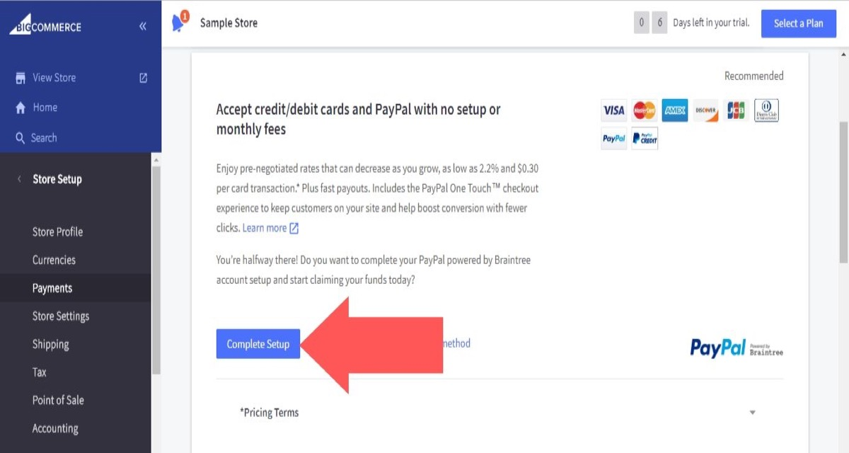 """Choose """"Online Payment Methods"""" from the drop-down menu"""