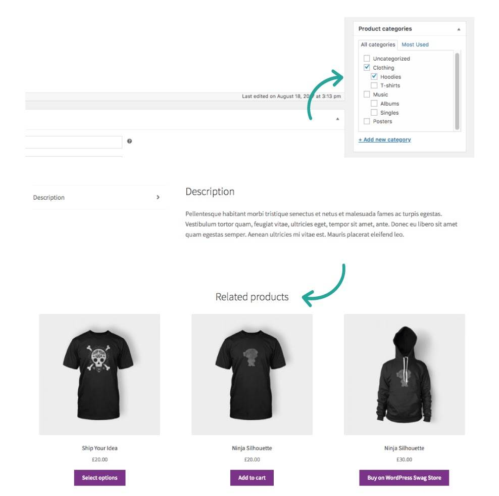 Select a random category to see the preview on product page