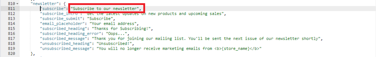 """Change the text """"Newsletter"""" in footer"""