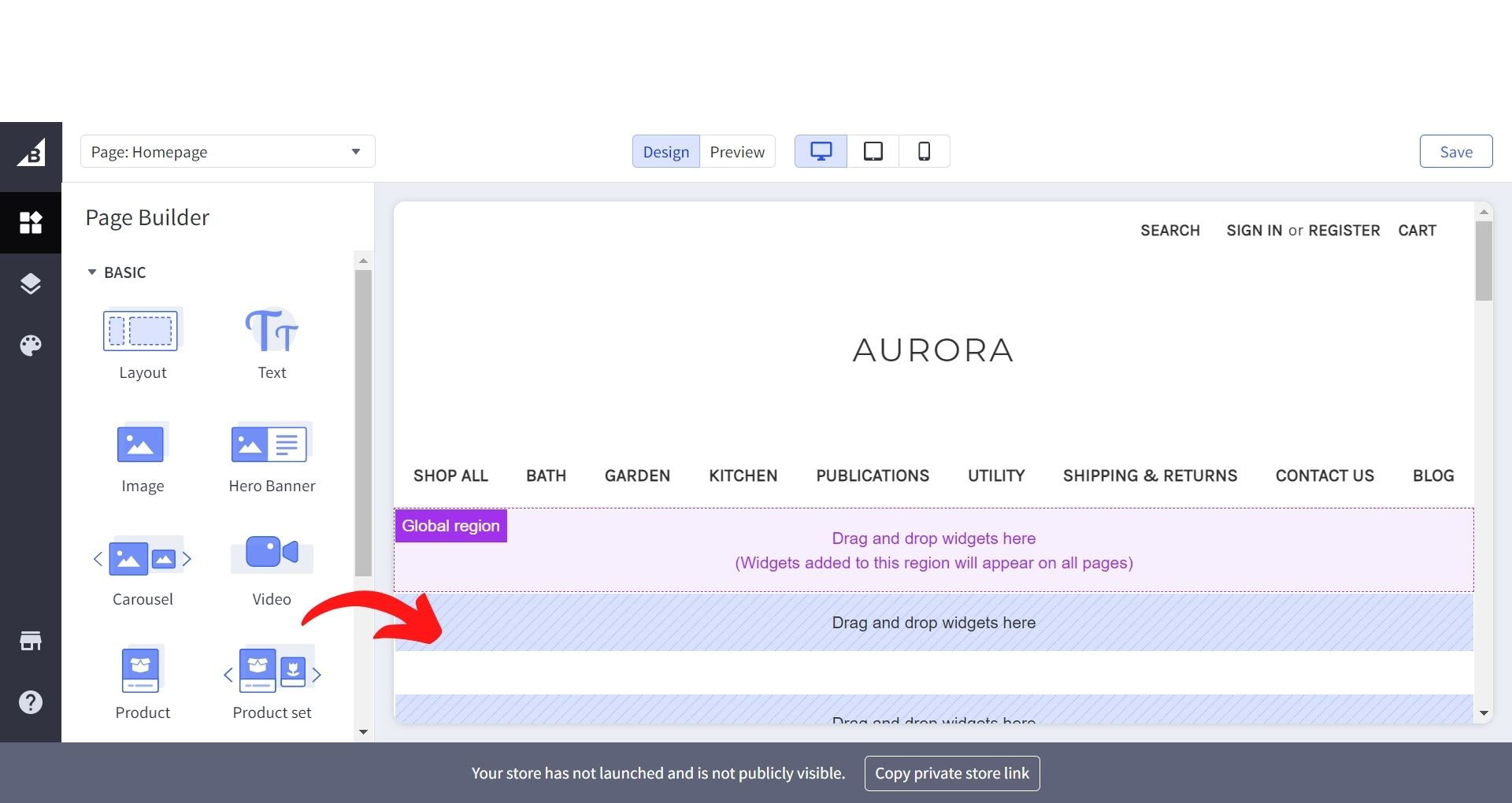 BigCommerce Page Builder Adding widgets