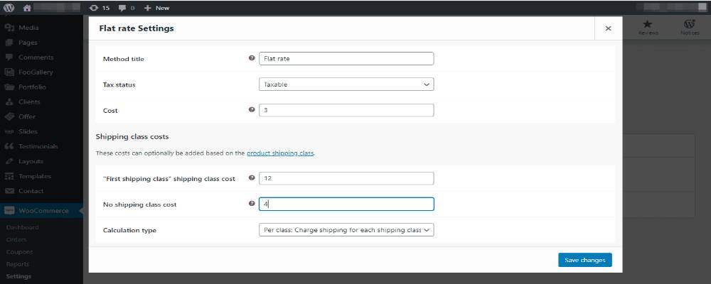 An example of customizing Flat rate