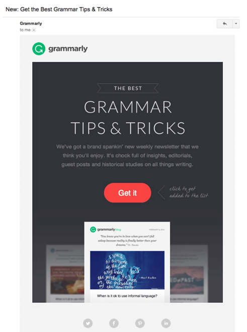 Grammarly includes a weekly report in their subscription email