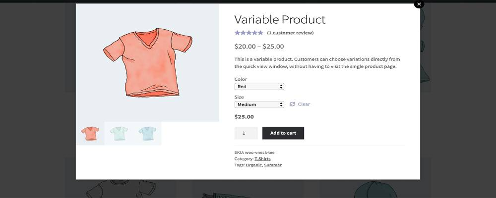 An example of a variable product in WooCommerce