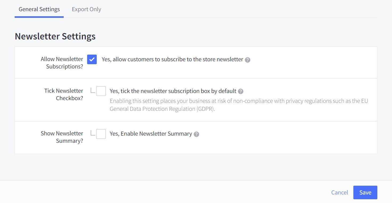 BigCommerce newsletter settings