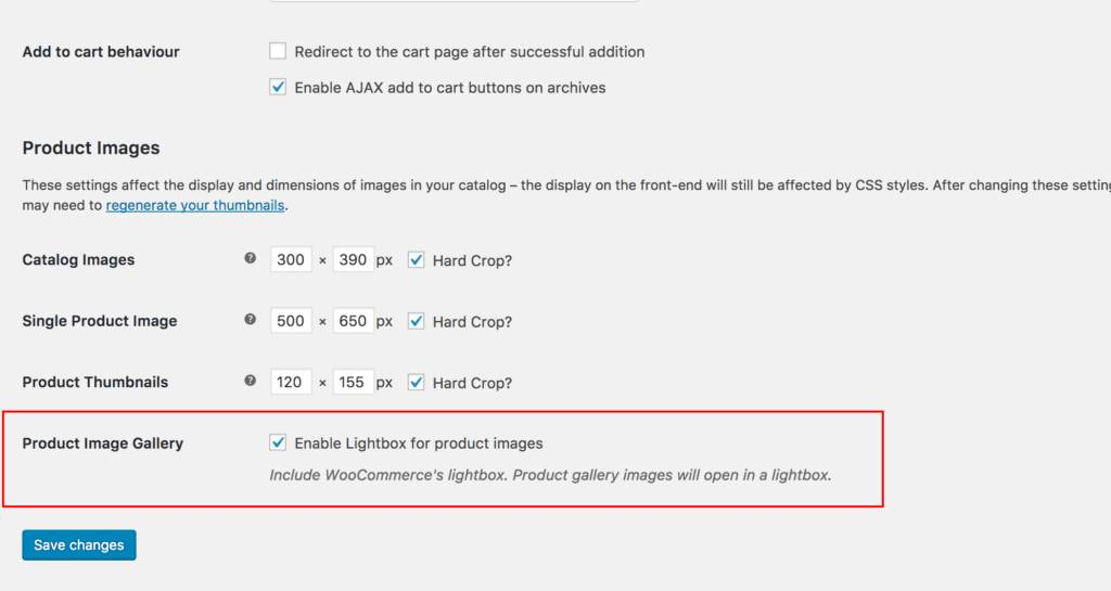 Before the launching of WooCommerce 3.0, we can still see the lightbox option