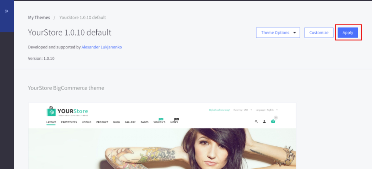 Apply the new theme to the store