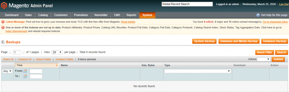 Log in to the Admin Panel of Magento to perform the backup