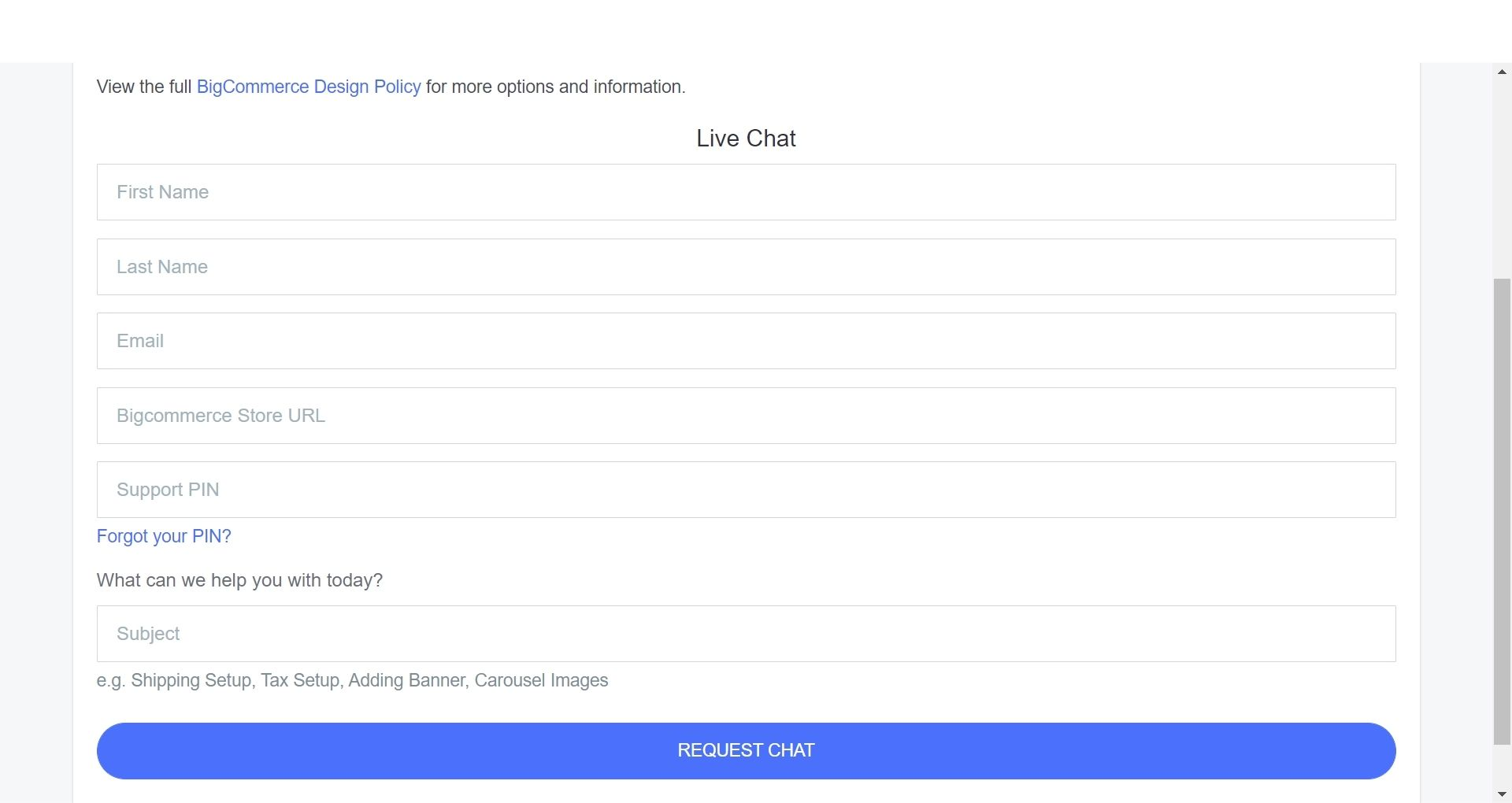 Contacting BigCommerce through live chat