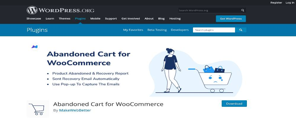 You can install Abandoned Cart for WooCommerce on WordPress homepage