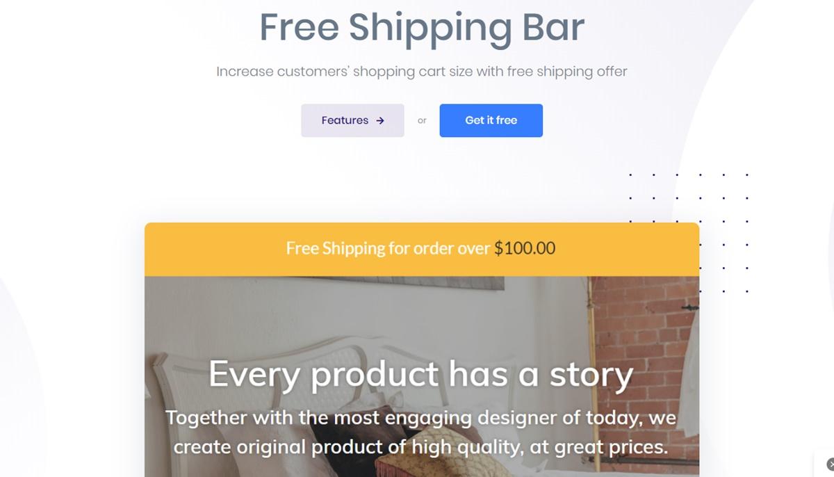 AVADA Free Shipping Bar - Announcement bar