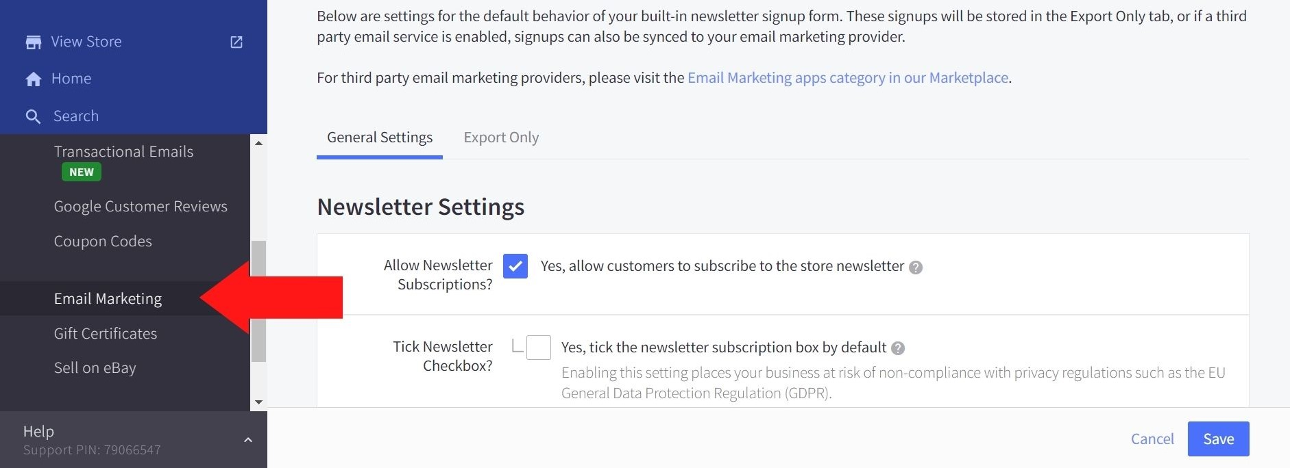 BigCommerce Email Marketing page