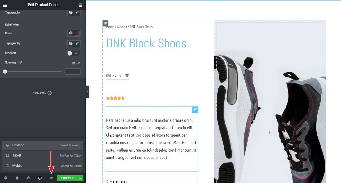 Preview the New Product Page