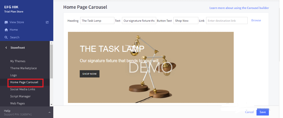 Open Home Page Carousel