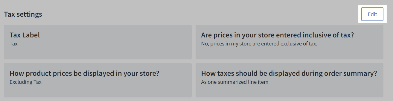 Set up shipping and tax settings