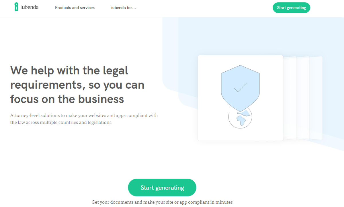 Start generating your Terms of Service with iubenda
