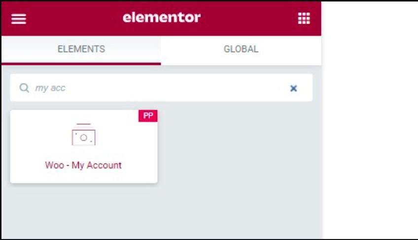 My account widget