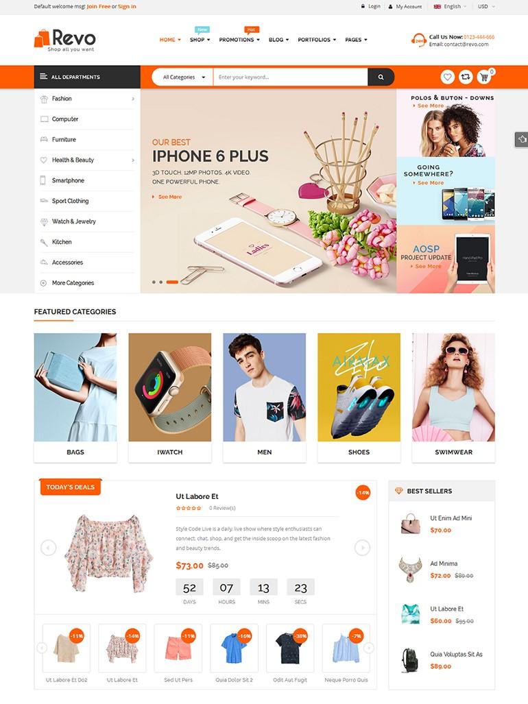 Revo BigCommerce Theme preview Source: WPThemeGo