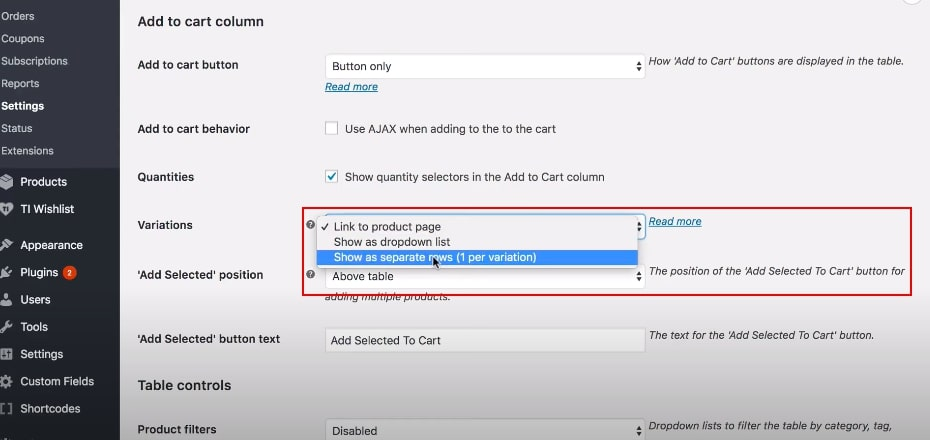 Install WooCommerce product table