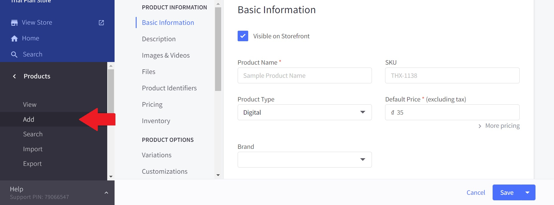 Adding product page