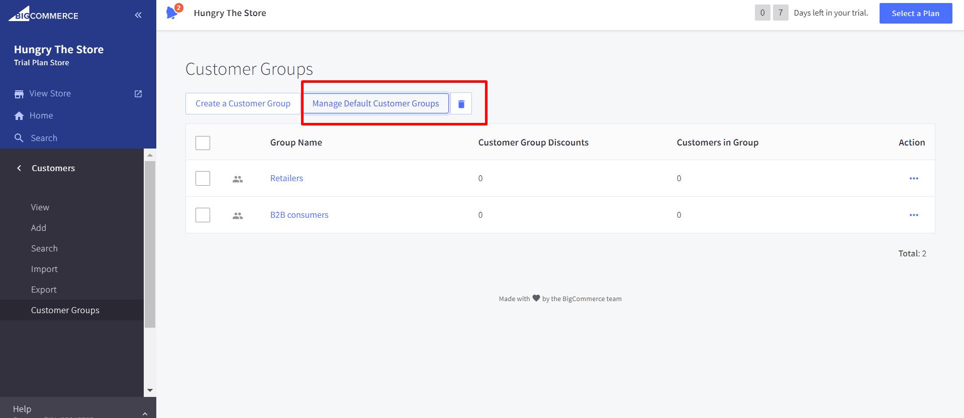 Manage Default Customer Groups