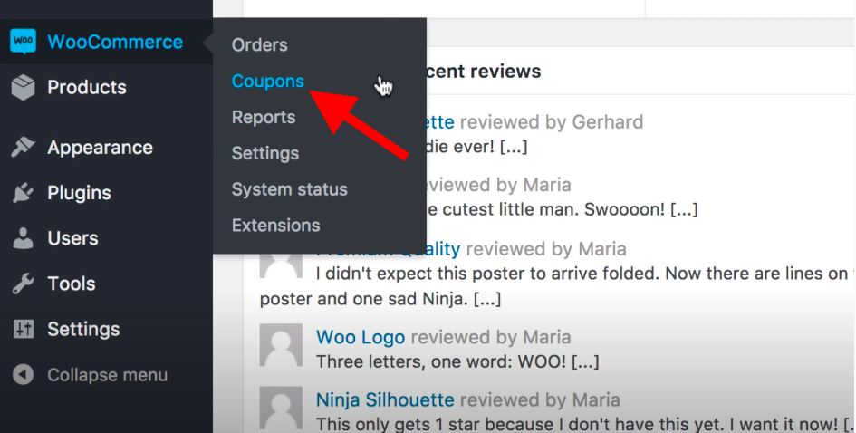 Go to WooCommerce > Coupons