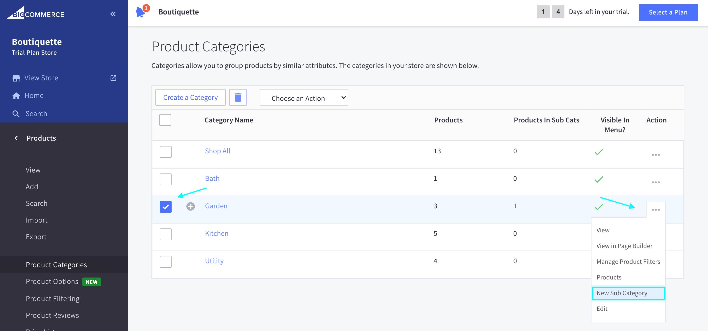New Sub Categories