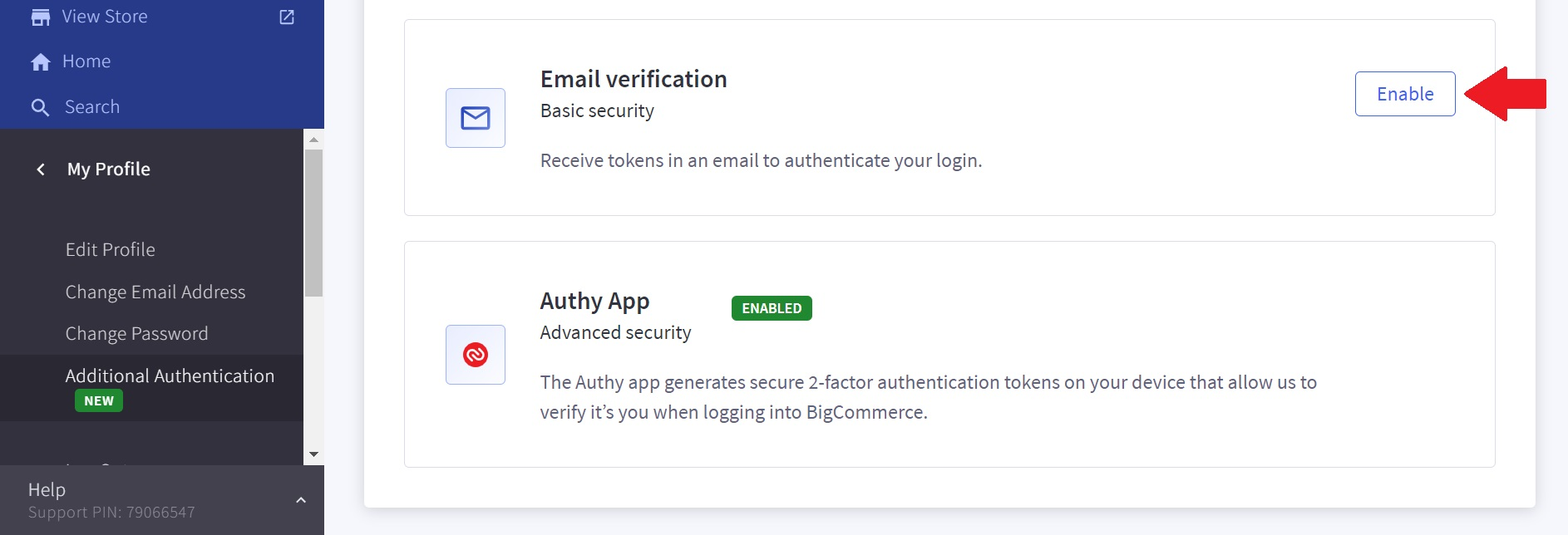 Turn off BigCommerce two step verification
