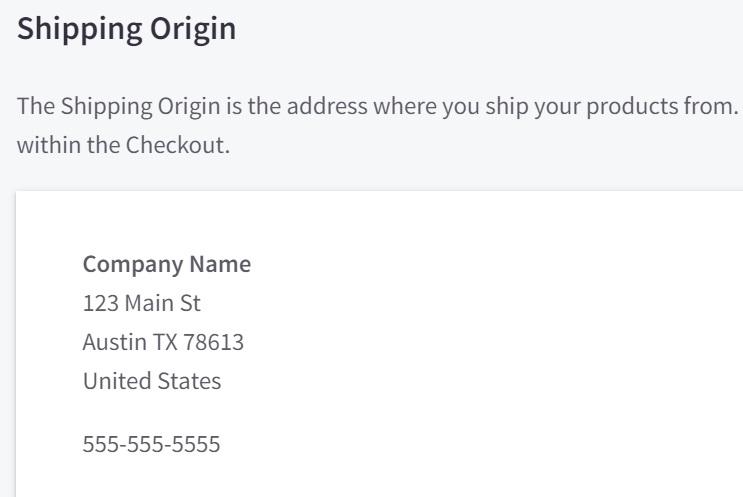 BigCommerce Shipping Origin