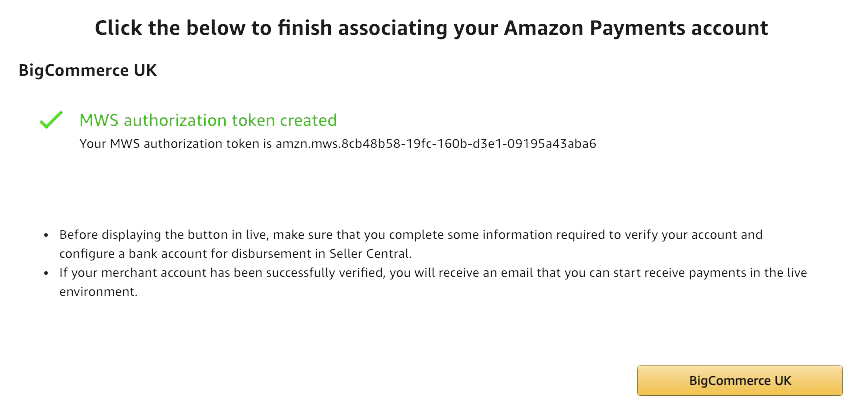 Finish associating your Amazon Payments account