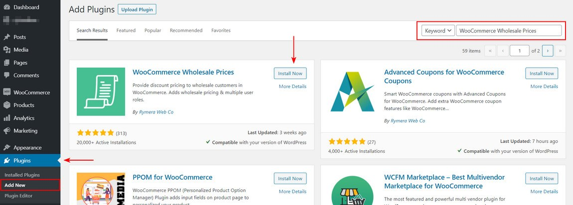 Install and activate a WooCommerce wholesale plugin