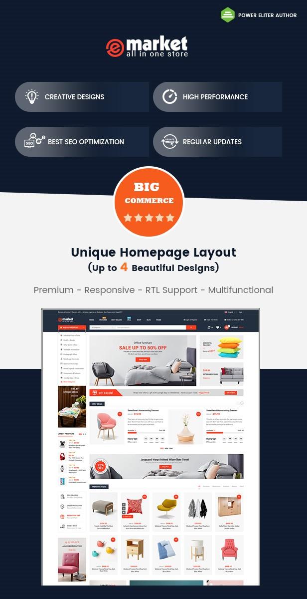 eMarket BigCommerce Theme preview Source: Pixxett